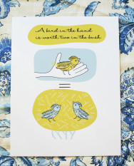 A bird in the hand is worth two in the bush - illustration