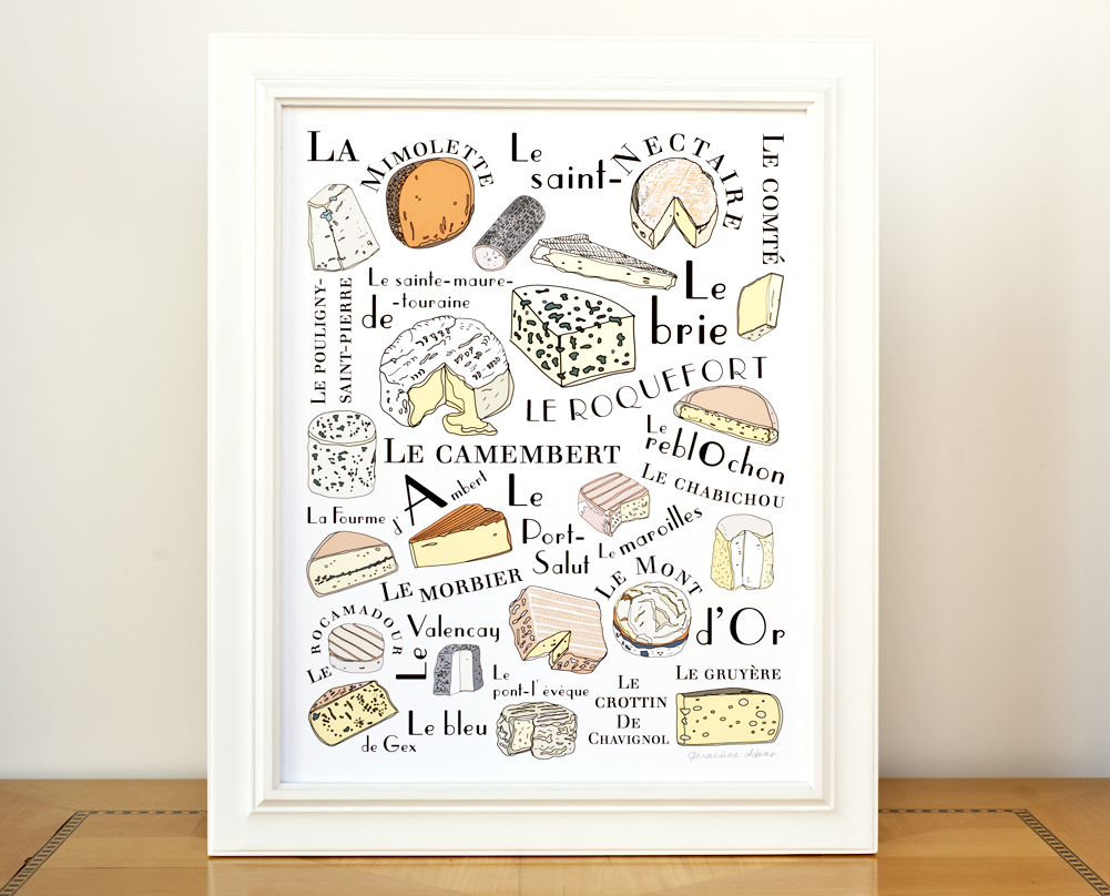French Cheeses Poster Kitchen Art by Géraldine Adams