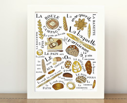 French Breads 8x10 Illustration by Géraldine Adams