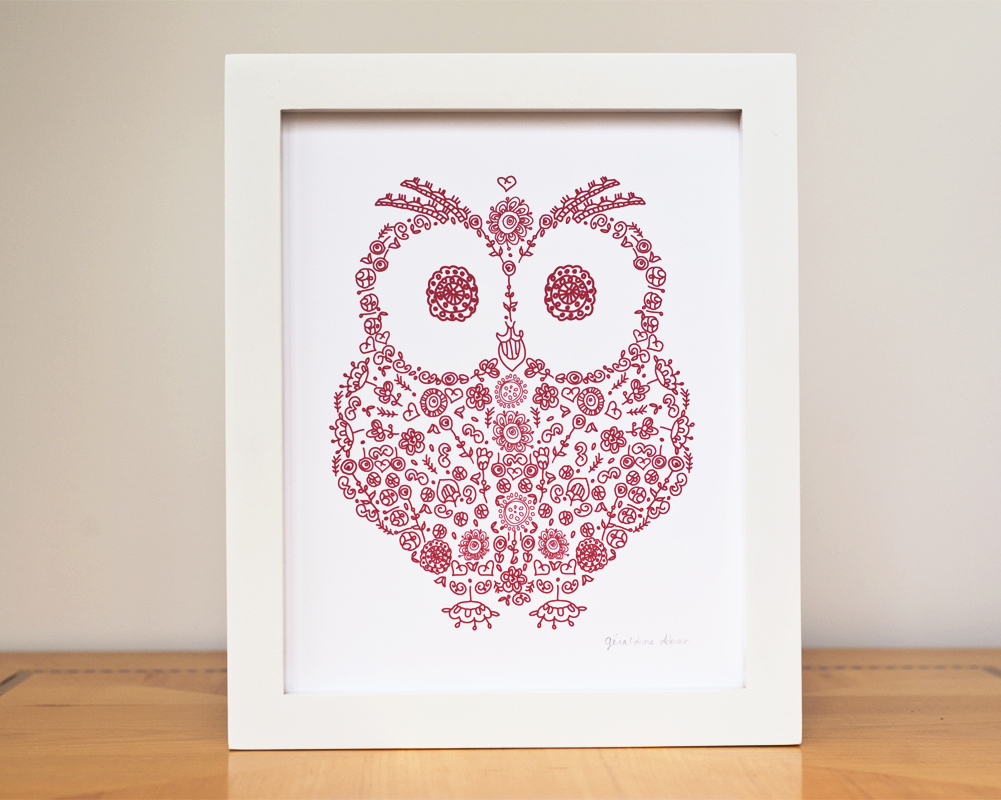 Red Owl Woodland silhouette home decor by Géraldine Adams