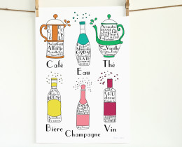 French Drinks and Beverages 13x19 poster by Géraldine Adams