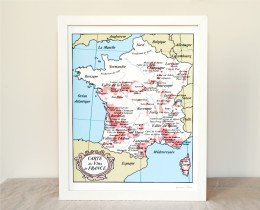 France Wine Map 8x10 hand drawn handmade art print by Géraldine Adams