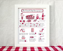 French Beef Bourguignon Kitchen Art Poster by Géraldine Adams