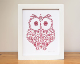 Red Owl woodland silhouette custom nursery baby home decor by Géraldine Adams