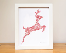 Red Reindeer Woodland silhouette nursery art print by Géraldine Adams