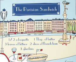 The Parisian Sandwich illustrated recipe art print by Géraldine Adams