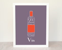 French wine Modern kitchen art 8x10 art print by Géraldine Adams