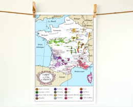 French Wine map of France poster 13x19 Kitchen Art by Géraldine Adams