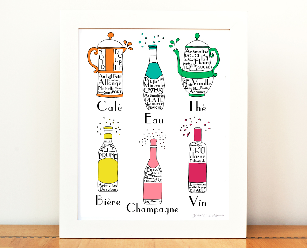 French Drinks and Beverages 8x10 Art Printv
