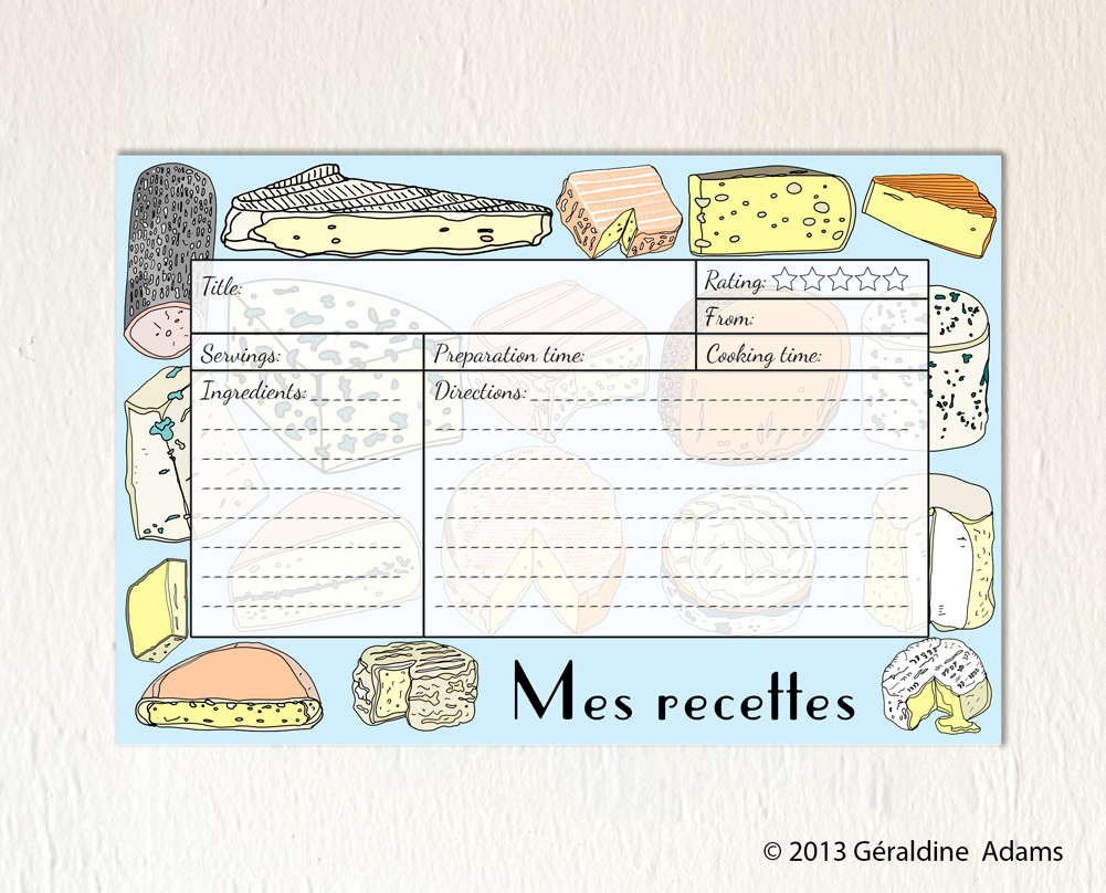 Recipe Cards Mes Recettes Cheeses by Géraldine Adams