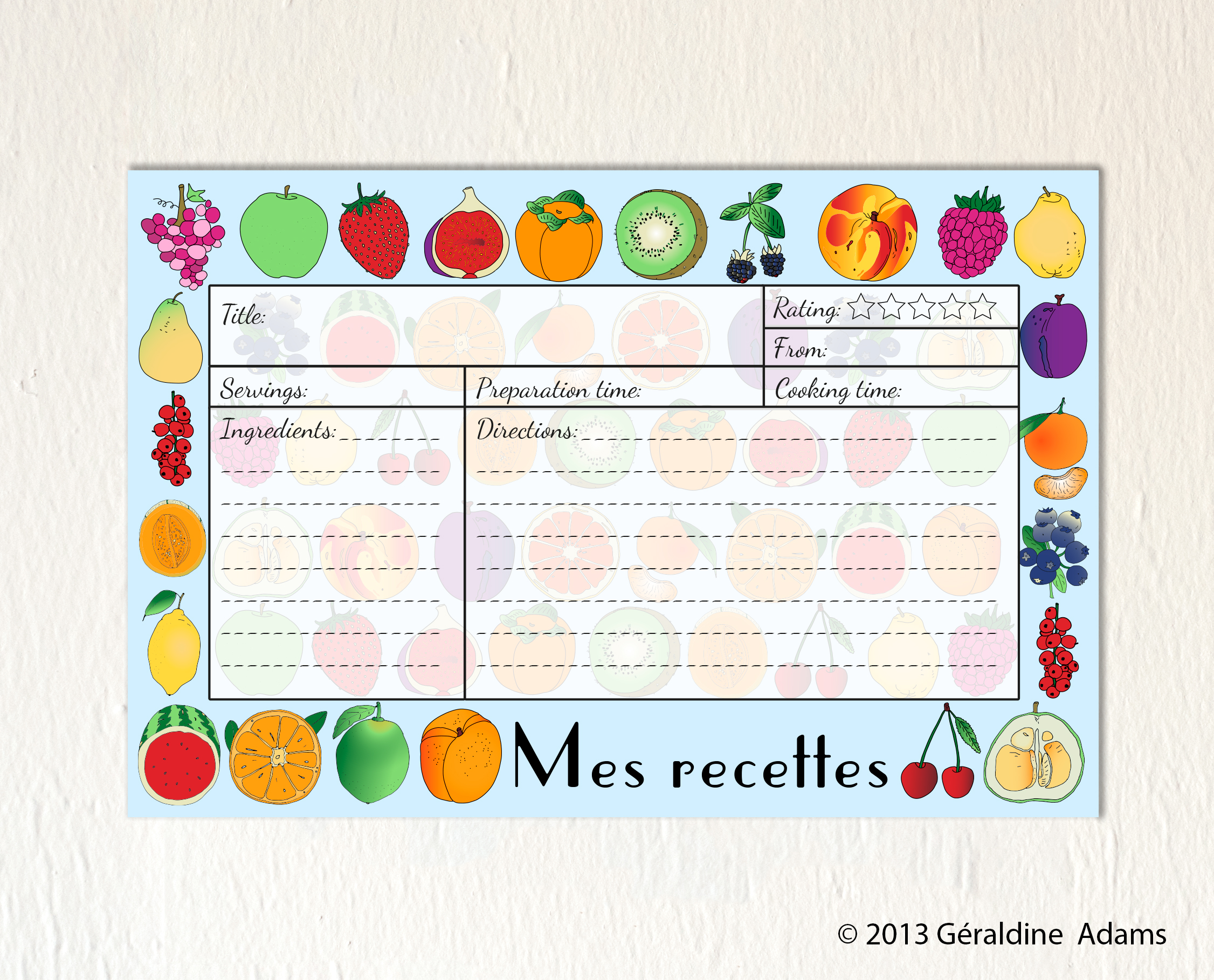Recipe Cards Mes Recettes Fruits by Géraldine Adams