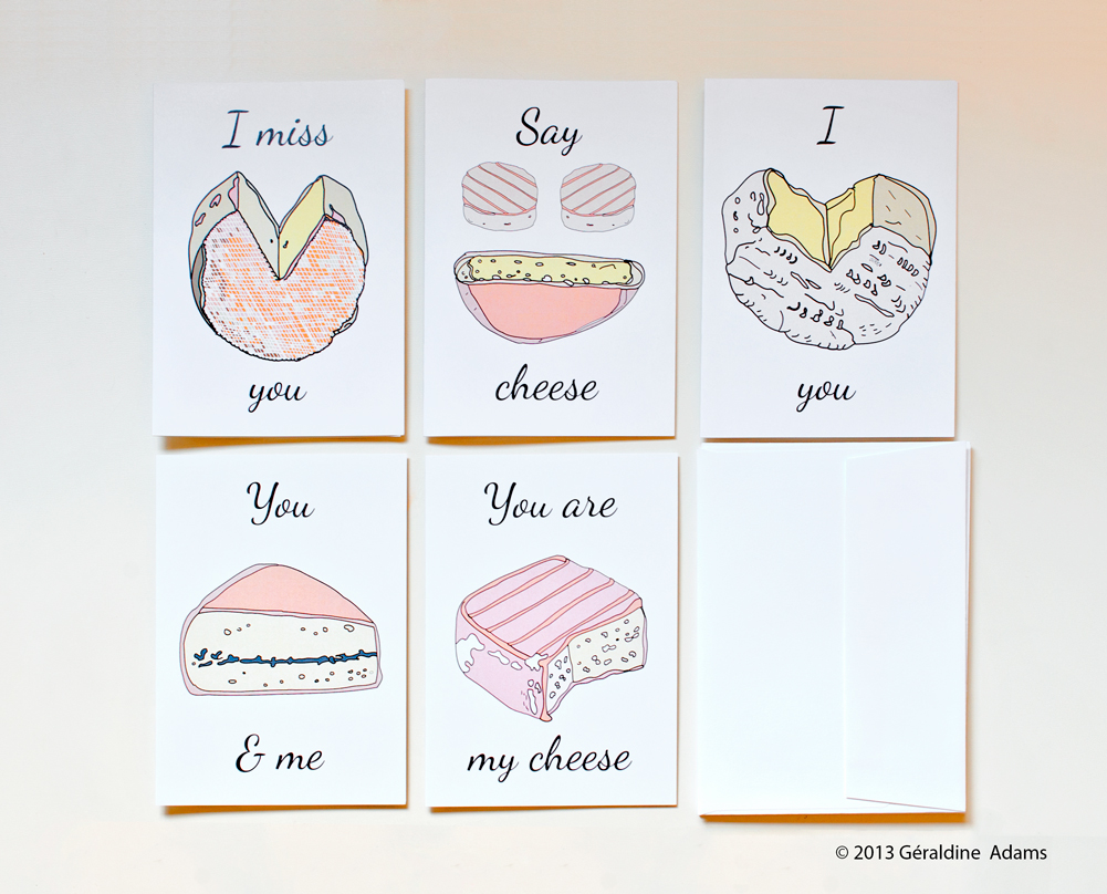 French Cheese Greeting Card Set by Géraldine Adams